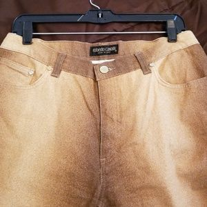 roBerto Cavalli made in Italy gold jeans large